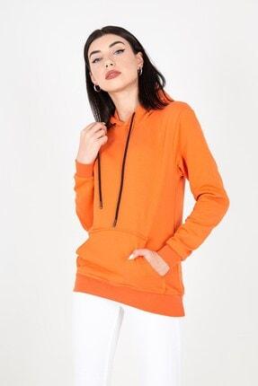 MY LIFE Mylife Kapüşonlu Kanguru Cep Kadın Sweatshirt Turuncu - Mlf2735 2