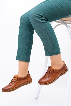 MelikaWalker Full Comfort Ve Ortopedik Bayan Taba Günlük Rahat Lastik Bağcıklı Hava Alabilen Bayan Ayakkabı 4
