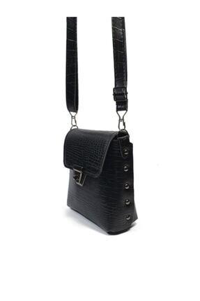Güce Kadın Siyah Kroko Desenli Gc010300k Tokalı El Ve Omuz Çantası 2