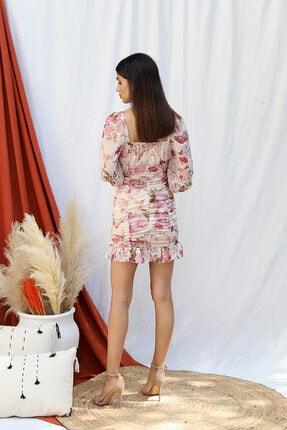Tuba Butik Çiçek Desen Şifon Elbise 1