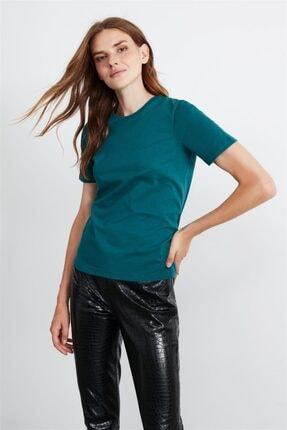 GRIMELANGE Hannah Kadın Petrol Yuvarlak Yakalı Basic T-shirt 3
