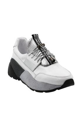 Abbondare Hakiki Deri Beyaz Kadın Spor Ayakkabı-sneaker 0