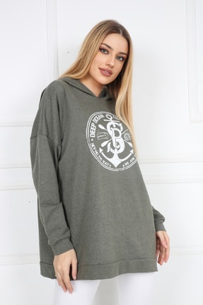 Butik Vanilin Kadın Haki Amblem Baskılı Kapüşonlu Yırtmaçlı Sweatshirt 4
