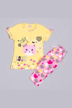 تصویر از 1312 Sarı Penye Desenli Nakışlı Kısa Kollu Çocuk Pijama Takımı