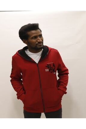 New Brand Erkek Spor Ceket Kapüşonlu Sweatshirt No7er-02998 2 Kırmızı NO7ER-02998 2