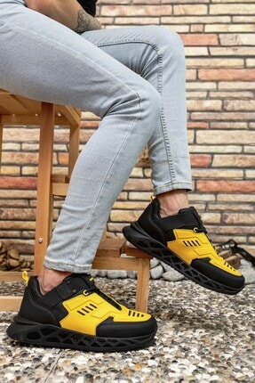 Riccon Siyah Sarı Erkek Sneaker 00122021 2