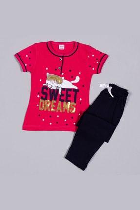 تصویر از 1310 Fuşya Penye Kedi Desenli Nakışlı Kısa Kollu Çocuk Pijama Takımı