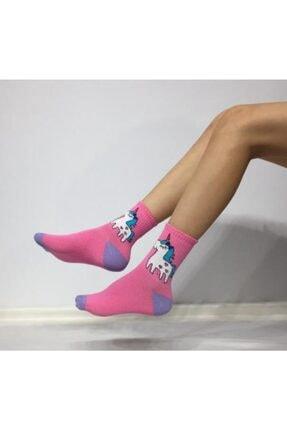 Adel Kokulu Unisex Unicorn Desenli Kolej Çorabı 0