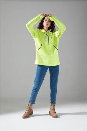 Mizalle Youth Neon Karyoka Sweatshirt (Yeşil) 0