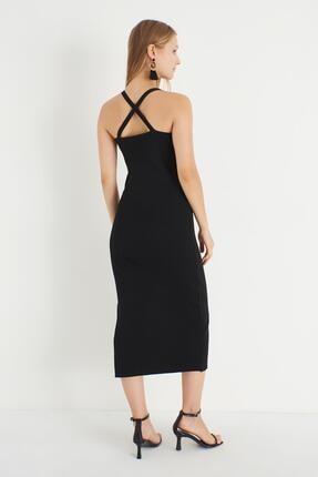 Miyore Çapraz Askılı Triko Elbise- Siyah 4