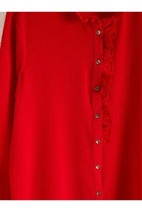 LC Waikiki Kadın Kırmızı  Gömlek 3