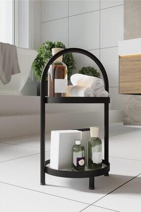 LİLLA HOME 2 Katlı Beyaz Mermer Desenli Kozmetik Takı Banyo Düzenleyici Organizeri 41 Cm 1