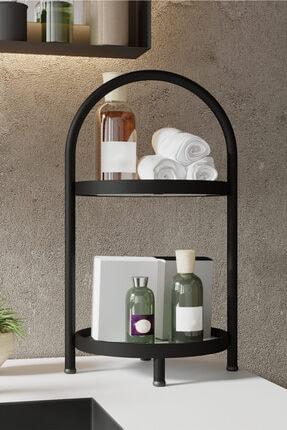 LİLLA HOME 2 Katlı Beyaz Mermer Desenli Kozmetik Takı Banyo Düzenleyici Organizeri 41 Cm 2