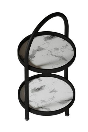 LİLLA HOME 2 Katlı Beyaz Mermer Desenli Kozmetik Takı Banyo Düzenleyici Organizeri 41 Cm 4