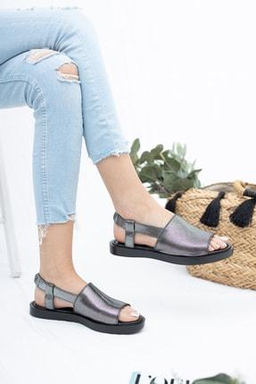 Deripabuc Hakiki Deri Platin Kadın Deri Sandalet Dp26-0597 2