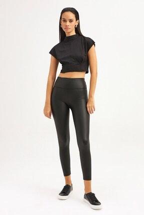 RANESA Kadın Siyah Boğazlı Crop Bluz 1