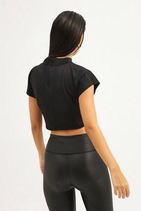 RANESA Kadın Siyah Boğazlı Crop Bluz 4