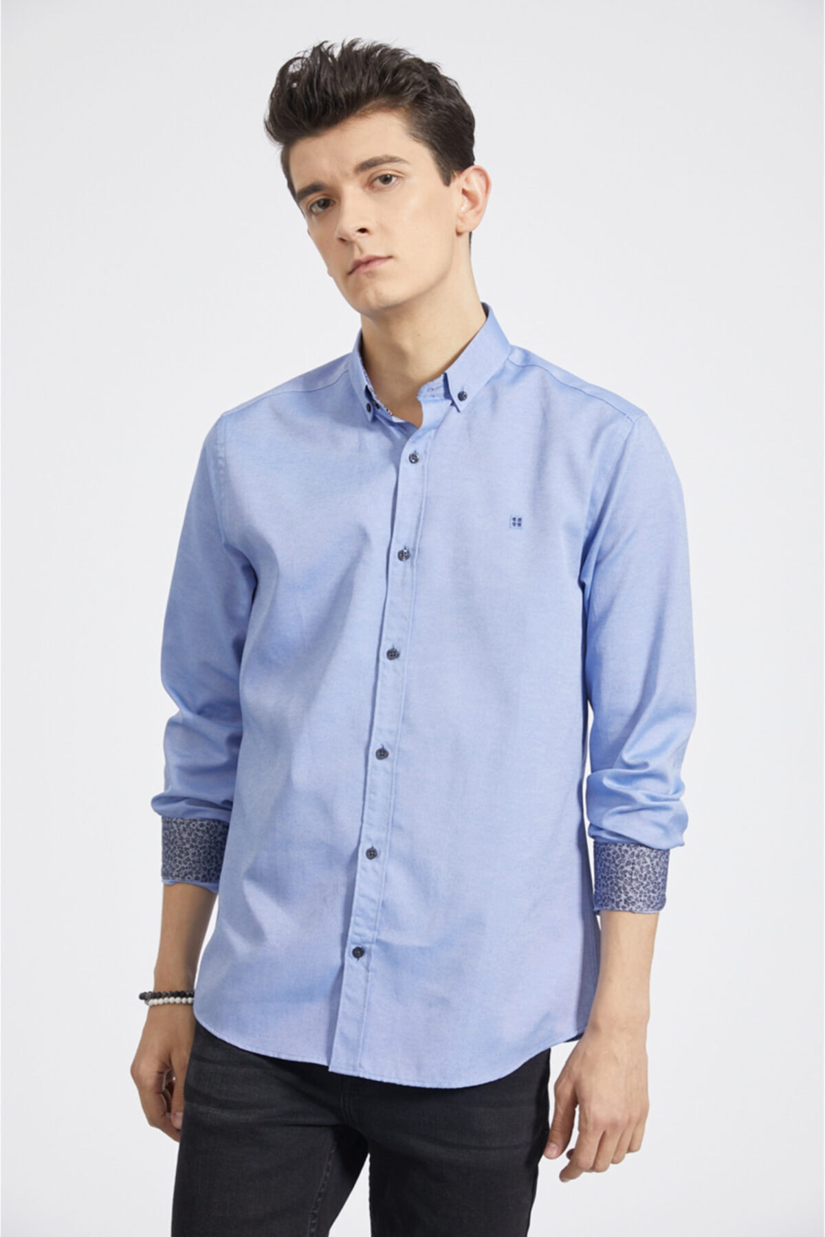Erkek Mavi Oxford Düğmeli Yaka Slim Fit Gömlek A02b2287