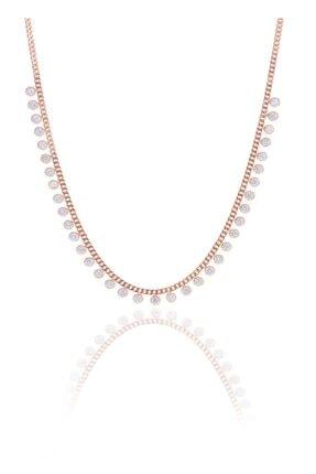 Söğütlü Silver Gümüş Rose Zirkon Taşlı Gurmet Zincirli Kolye 0