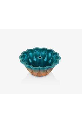 Kadı Kızı Granit Yapışmaz Döküm Damla Gülü Kek Kalıbı - Okyanus Mavisi & Bakır 1