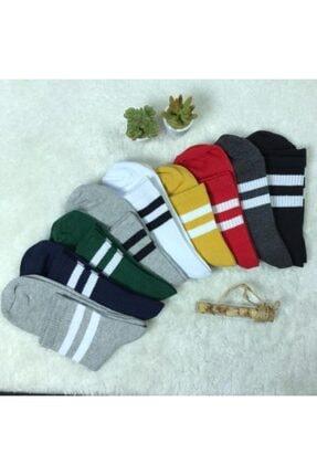 Adel Unisex 9'lu Karışık Renkli Çizgili Kolej Çorap 0