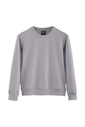 Minimalist Kadın Gri Basic Sweatshirt 0