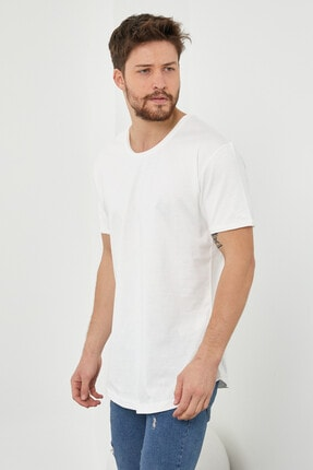 Tarz Cool Erkek Kırık Beyaz Pis Yaka Salaş T-shirt-tcps001r56s 3