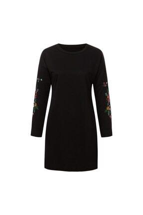 Visqon Yeni Model Kadın Kolları Nakış Detaylı Triko Elbise 3