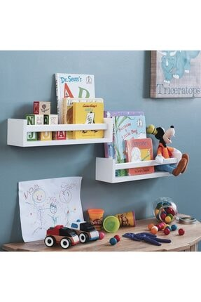 decomira Montessori Çocuk Odası Eğitici Kitaplık 2 Li Duvar Raf Set 2
