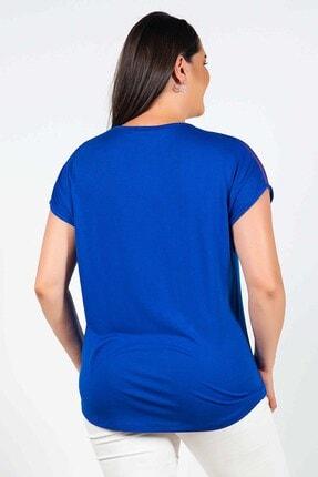 Womenice Büyük Beden Lacivert Yakası Kolu Tüllü Bluz 3