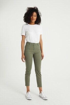 BOSHETTI Haki Yüksek Bel Mom Comfort Slim Fit Jeans 1