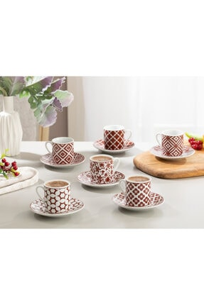 English Home Bordo Mira Porselen Kahve Fincan Takımı 80 ml 0