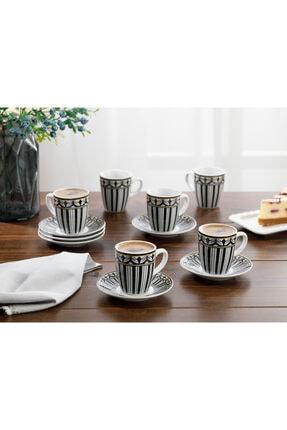 English Home Eldora Porselen 6'lı Kahve Fincan Takımı 100 ml Siyah - Beyaz 0