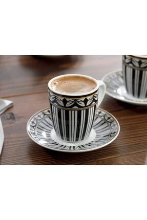 English Home Eldora Porselen 6'lı Kahve Fincan Takımı 100 ml Siyah - Beyaz 2