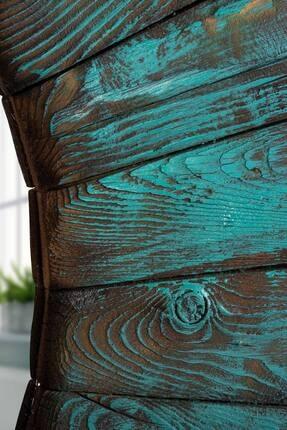 bluecape Doğal Ağaç Turquois Exclusive Vintage Edition Saat Dresuar Ayna Salon Koridor Hol Dekor Takım Set 2