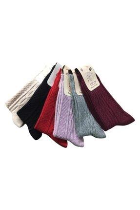Diba 6'lı Kadın Yün Çorap Lambswool Kuzu Yünü Pamuk Karışımı Sayesinde Rahatsızlık Vermez 0