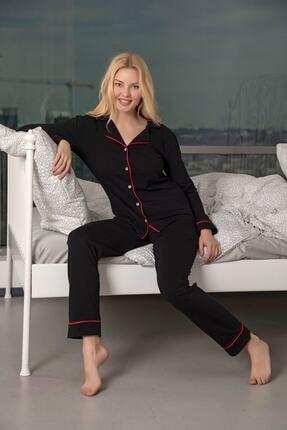 Huq Moda Kadın Siyah-kırmızı Pamuklu Likralı Biyeli Pijama Takımı 3