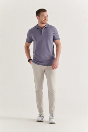 Avva Erkek Lila Polo Yaka Düz T-shirt A11b1146 3