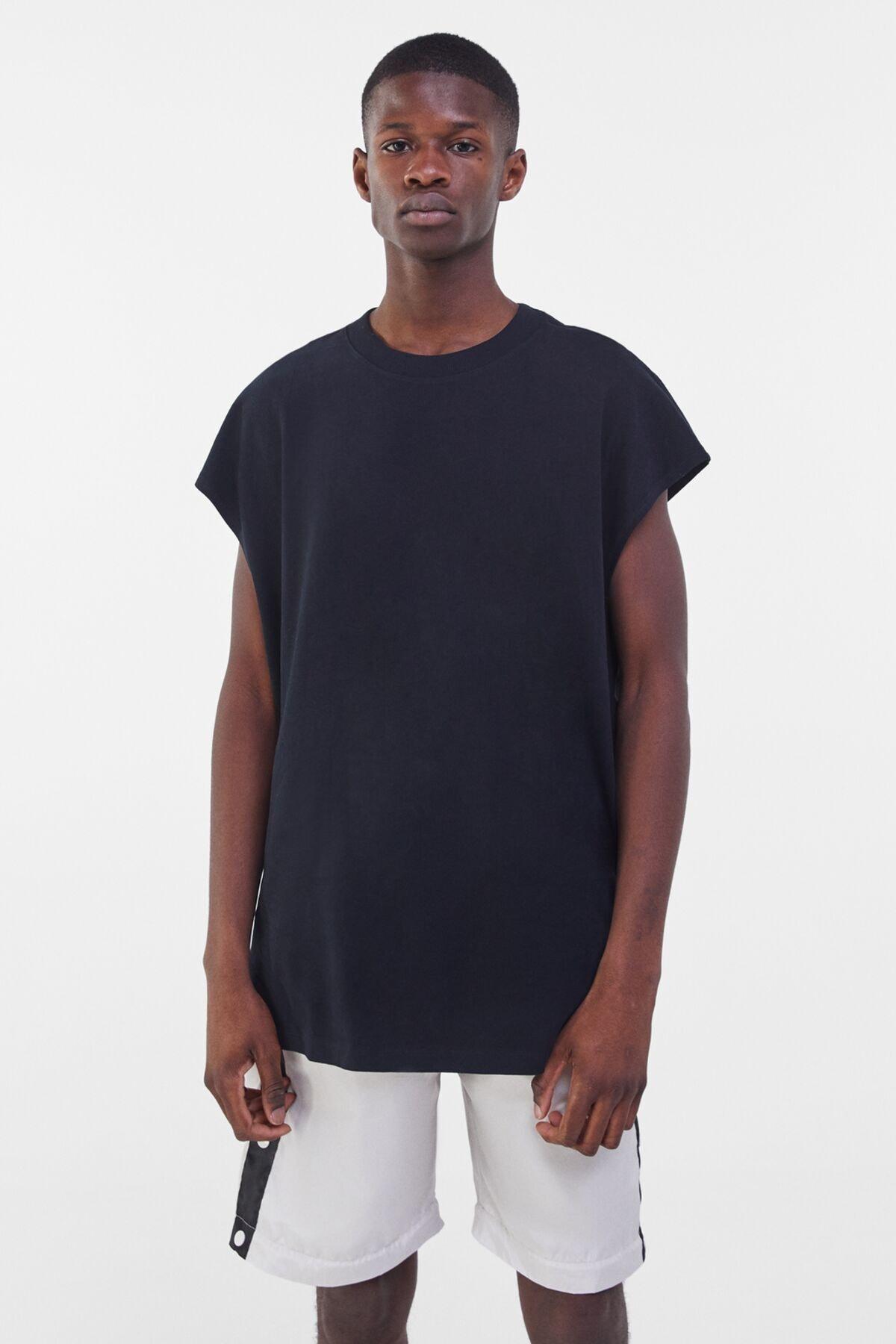 Bershka Erkek Siyah Ekstra Loose Fit Worker T-shirt 0