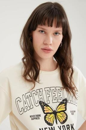 Defacto Kadın Ekru Kelebek Baskılı Beli Lastikli Crop Tişört 2