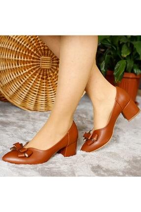 PUNTO Kadın Kahverengi Deri Kısa Topuklu Ayakkabı 1