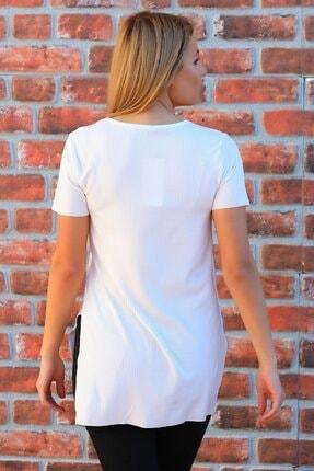 Julude Kadın  V Yaka Yanları Yırtmaçlı Kaşkorse T-shirt 0