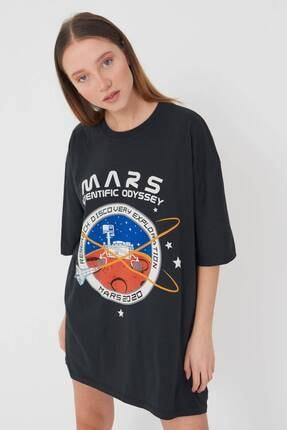 Addax Kadın Füme Baskılı Oversize T-Shirt P9411 - U2 Adx-0000022043 2