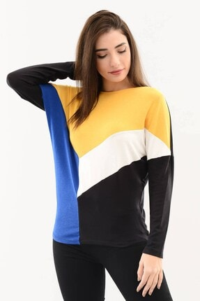 DressFine Bisiklet Yaka Renk Bloklu Uzun Kol Bluz Sarı-beyaz-saks-siyah 2