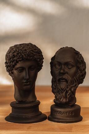 BEIGE Siyah Hermes + Socrates 2'li Heykel Büst 0