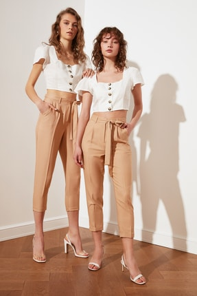 TRENDYOLMİLLA Taş Petite Kuşaklı Pantolon TWOSS21PL0522 0