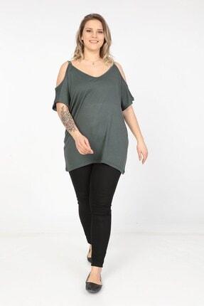 Womenice Kadın Yeşil Omuzları Açık Askılı Büyük Beden Bluz 4