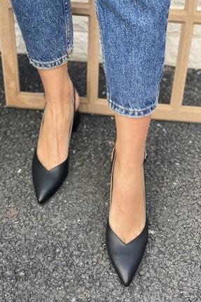 İnan Ayakkabı Sivri Burun Arkası Açık Topuklu Ayakkabı 3