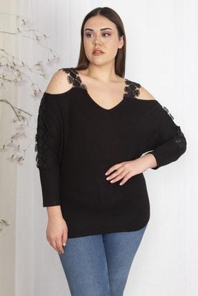 Şans Kadın Siyah Omuz Dekolteli Askı Ve Kolları Dantel Detaylı V Yakalı Bluz 65N23438 1