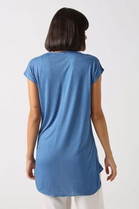 Gusto V Yakalı T-shirt - Mavi 1
